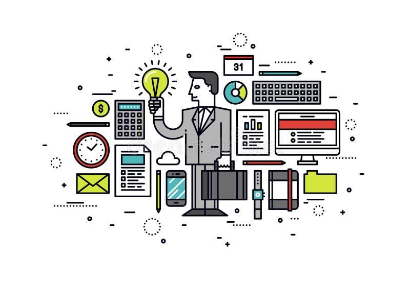 Línea ejemplo de las ideas del negocio del estilo ilustración del vector