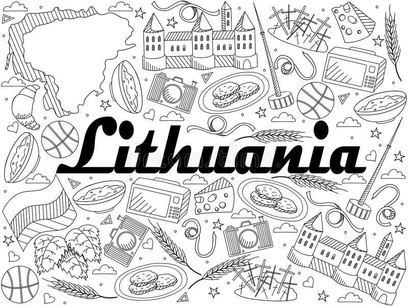 Línea ejemplo de Lituania del vector del diseño del arte libre illustration