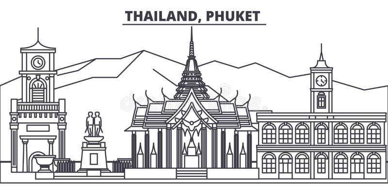 Línea ejemplo de Tailandia, Phuket del vector del horizonte Paisaje urbano linear con las señales famosas, vistas de Tailandia, P ilustración del vector