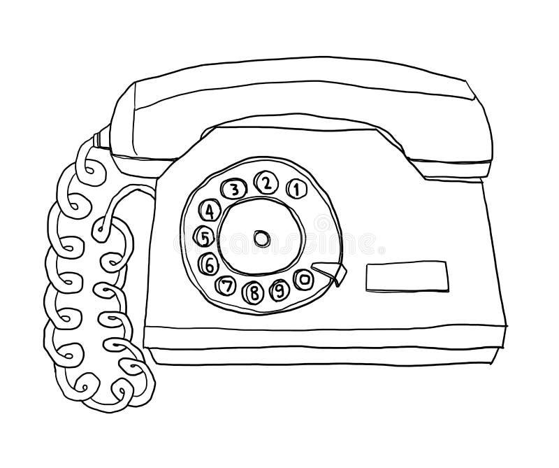 Línea ejemplo de teléfono de la pared del vintage del teléfono de dos tonos del arte stock de ilustración