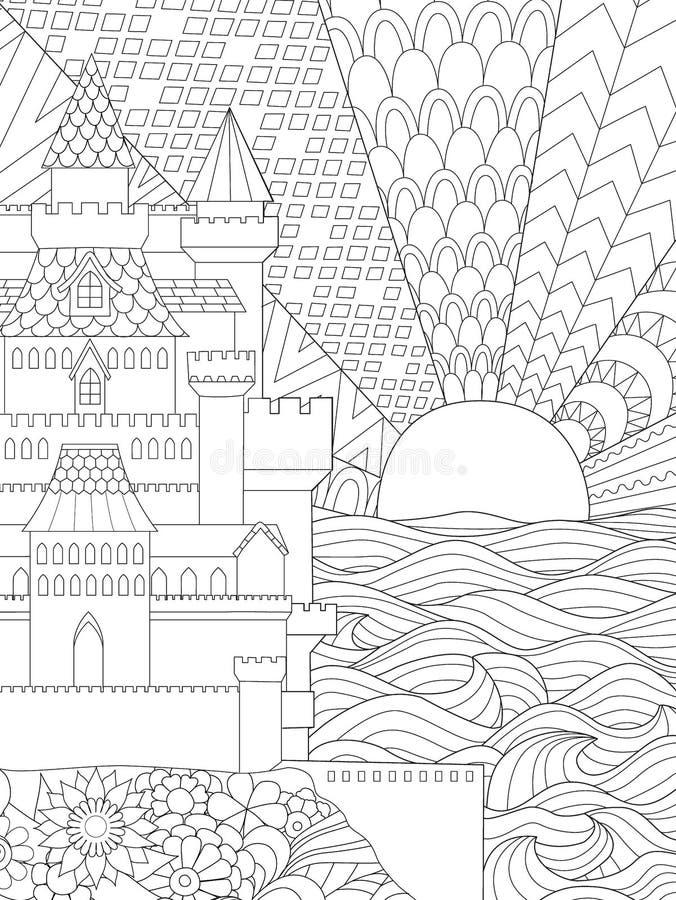 Línea ejemplo del arte del castillo hermoso y puesta del sol en el fondo para el elemento del diseño y libro de colorear adulto p ilustración del vector