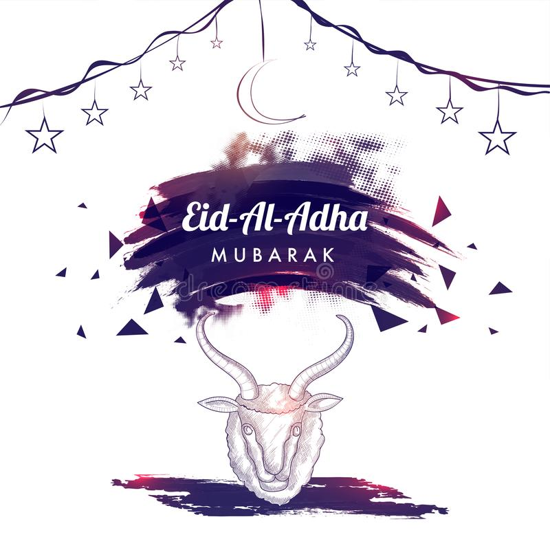 Línea ejemplo del arte de la cabeza de la cabra, de la luna colgante, de estrellas y de Eid- ilustración del vector