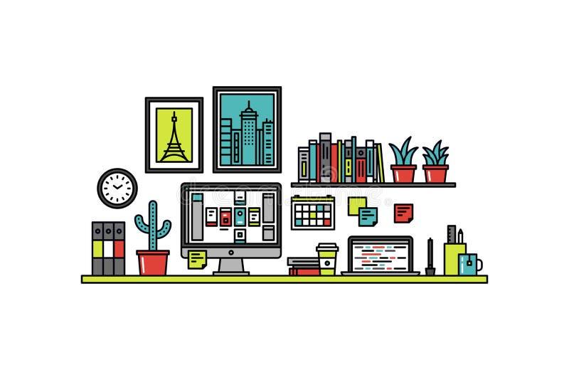 Línea ejemplo del escritorio del diseñador de interfaz del estilo ilustración del vector