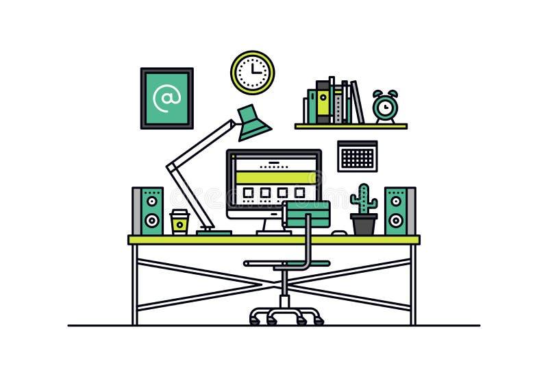 Línea ejemplo del lugar de trabajo del diseñador web del estilo stock de ilustración