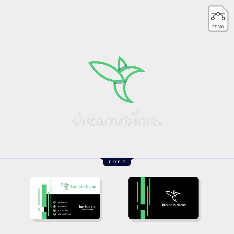 línea ejemplo del vector de la plantilla del logotipo del colibrí del arte, plantilla libre del diseño de la tarjeta de visita stock de ilustración