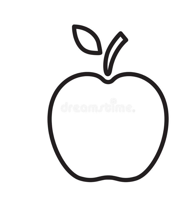 Línea ejemplo del vector del icono de la manzana aislado en blanco stock de ilustración