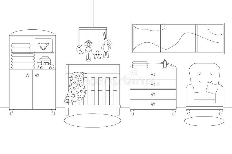 Línea ejemplo del vector del sitio del bebé stock de ilustración