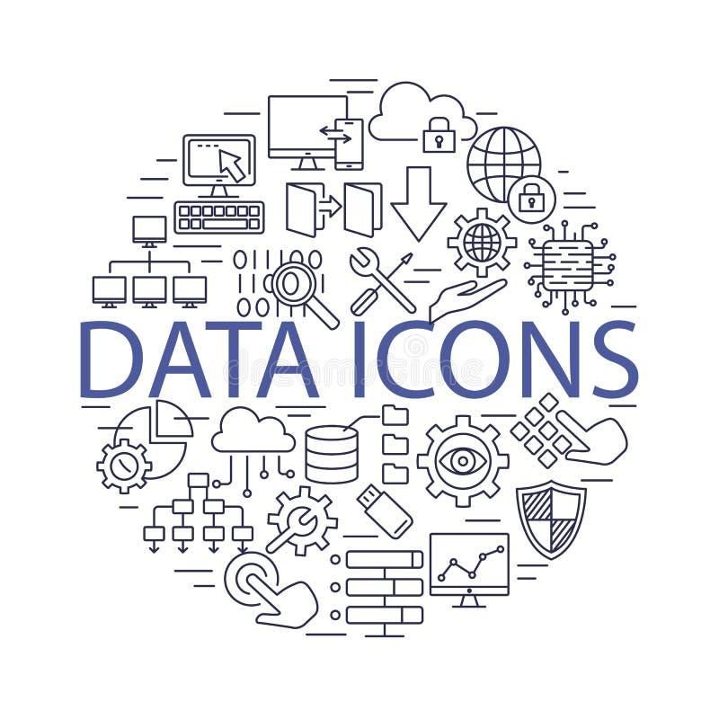 Línea ejemplo determinado de los iconos de los datos del vector ilustración del vector