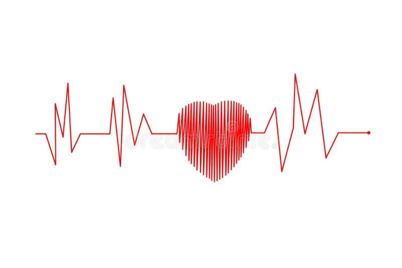 Línea ejemplo latido del corazón y del ritmo cardíaco rojos del vector del concepto libre illustration