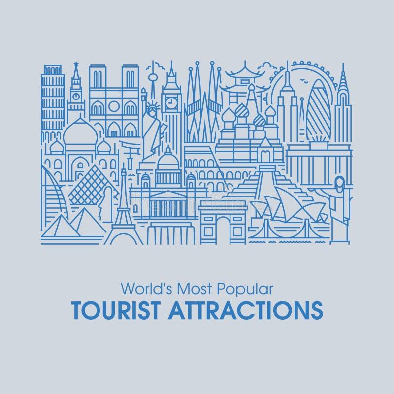 Línea ejemplo plana de las atracciones turísticas más populares del mundo libre illustration