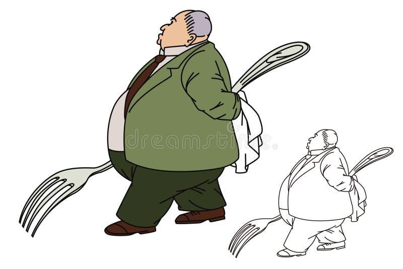 Línea ejemplo plana Hombre gordo con una bifurcación grande stock de ilustración