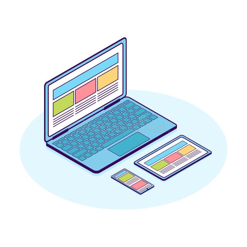 Línea ejemplo plana isométrica de ordenador, de teléfono y de tableta stock de ilustración