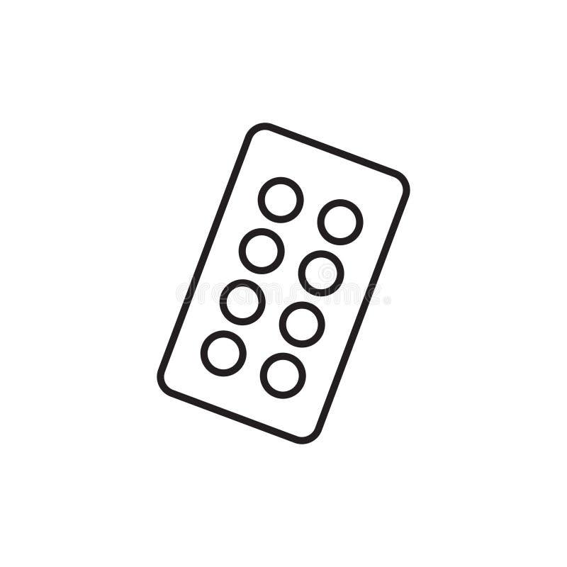 Línea ejemplo simple de píldoras, de drogas y de cápsulas de la medicina Iconos negros planos stock de ilustración
