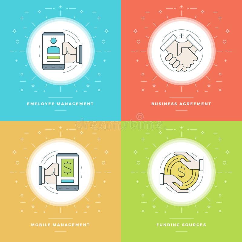 Línea ejemplos plana fijados Conceptos lineares finos modernos de moda del negocio de los iconos del vector del movimiento libre illustration