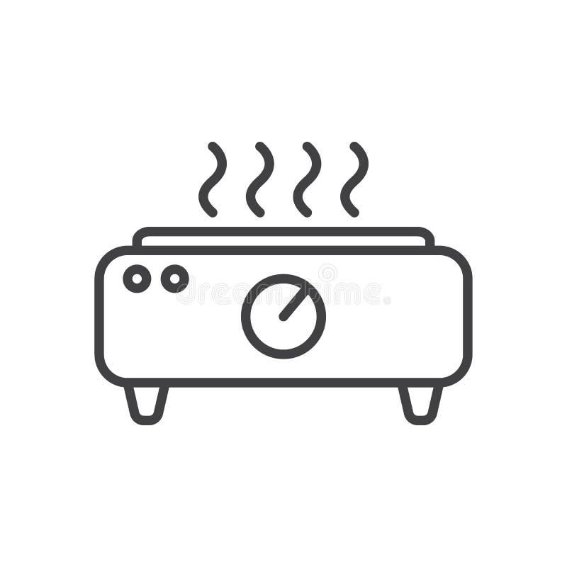 Línea eléctrica icono, muestra del vector del esquema, pictograma linear de la placa caliente del estilo aislado en blanco libre illustration