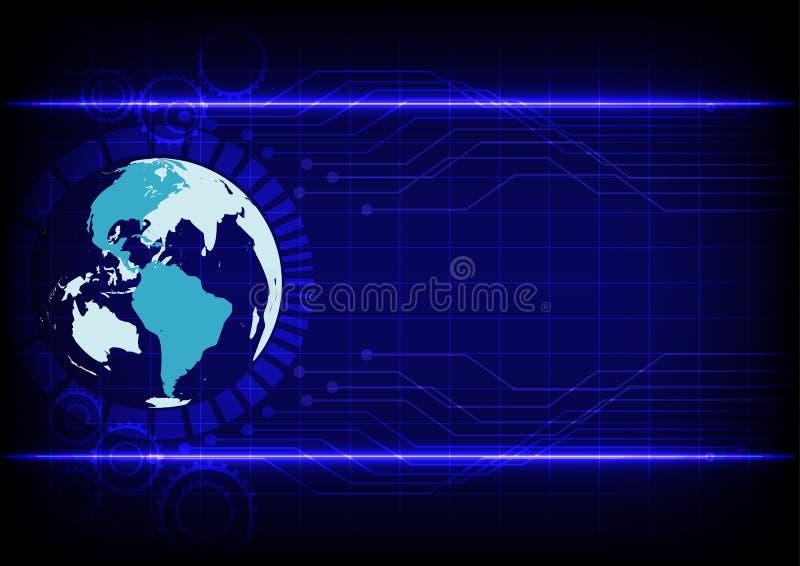 Línea electrónica fondo azul de la tecnología abstracta del mundo del color stock de ilustración