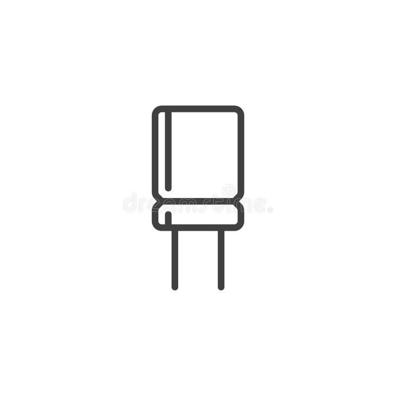 Línea electrónica icono del condensador ilustración del vector