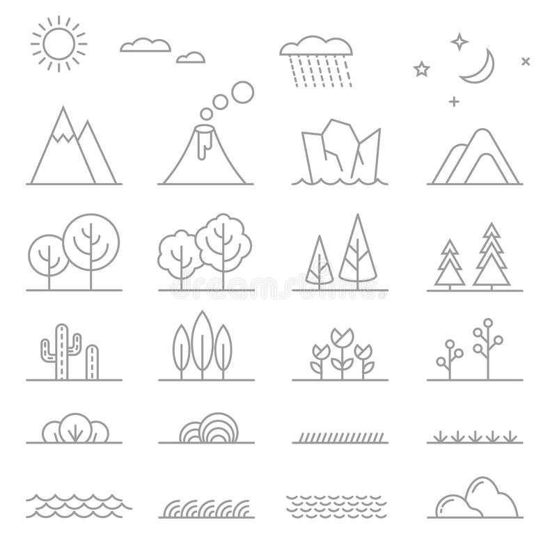 Línea elementos del paisaje stock de ilustración