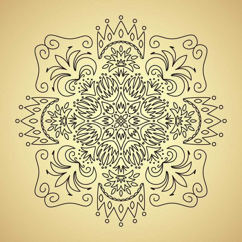 Línea emblema con las flores y la corona libre illustration
