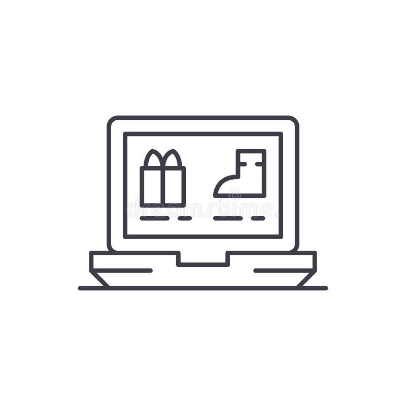 Línea en línea concepto de la tienda de ropa del icono Ejemplo linear de ropa del vector en línea de la tienda, símbolo, muestra stock de ilustración