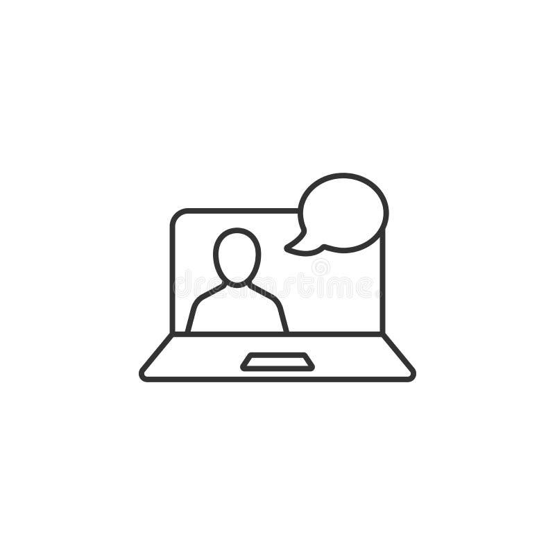 Línea en línea icono de la charla video Ejemplo simple del elemento Línea en línea plantilla de la charla video del diseño del sí ilustración del vector