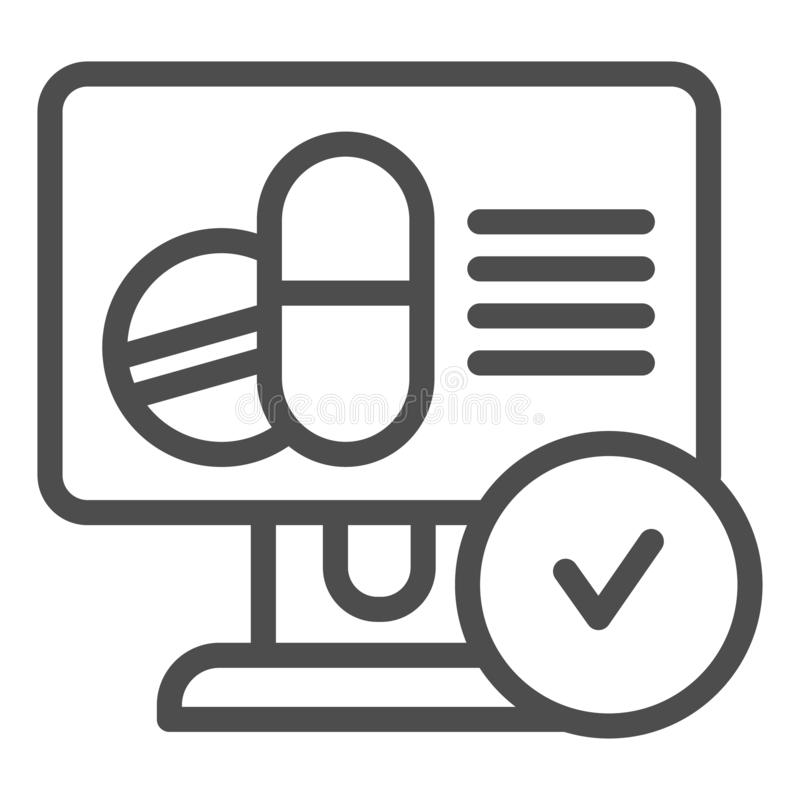 Línea en línea icono de la receta de las píldoras Ejemplo del vector de la receta de las drogas aislado en blanco Receta médica e libre illustration