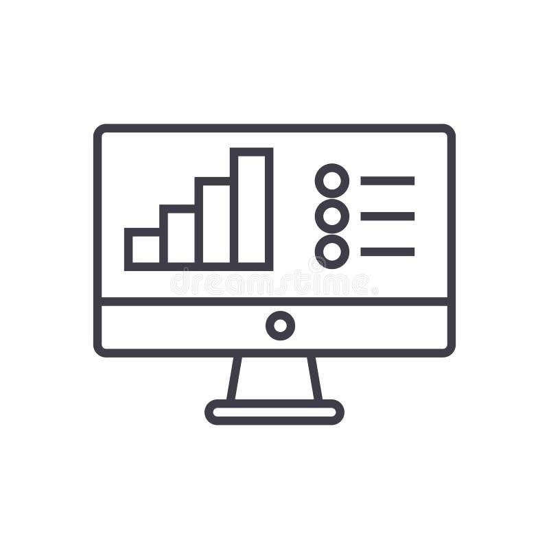 Línea en línea icono, muestra, ejemplo del vector del informe del análisis de datos en el fondo, movimientos editable libre illustration