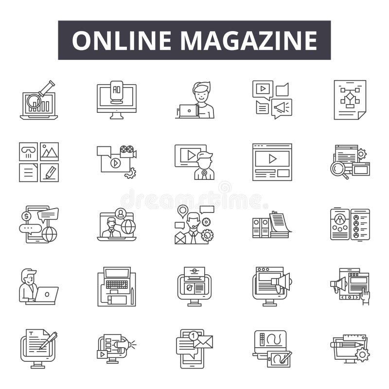 Línea en línea iconos, muestras, sistema del vector, concepto linear, ejemplo de la revista del esquema ilustración del vector