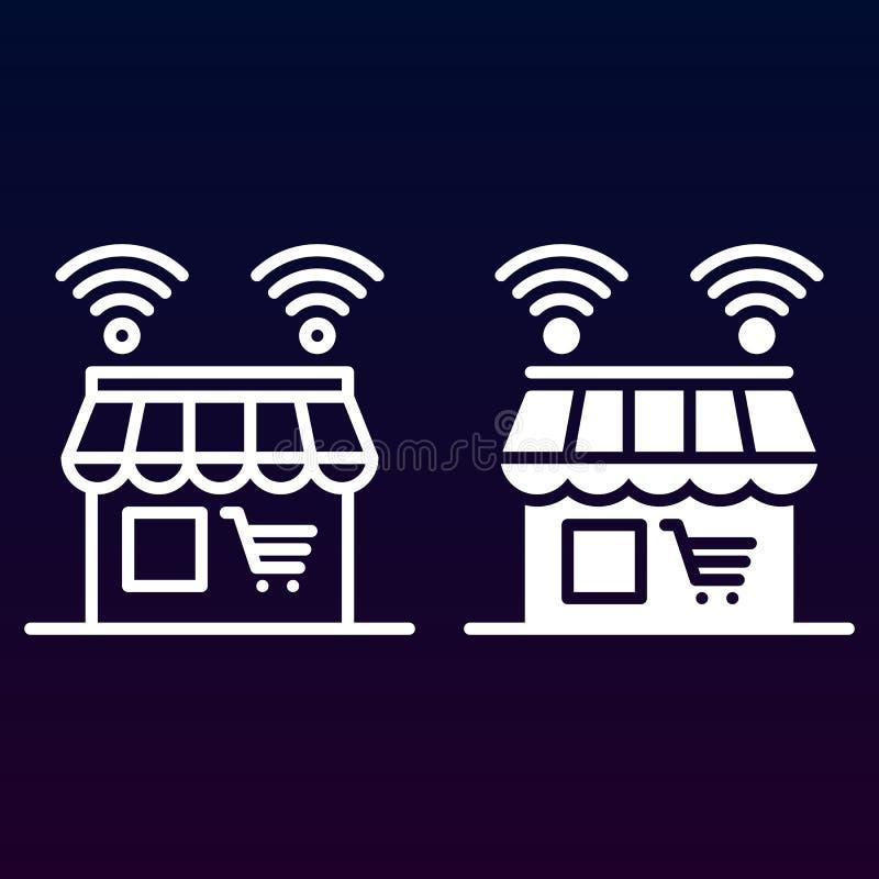 Línea en línea de la tienda e icono sólido, esquema y pictograma llenado de la muestra del vector, linear y lleno aislados en bla libre illustration