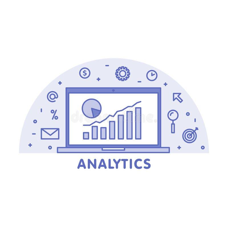 Línea en línea ejemplo del concepto del analytics Ordenador portátil con la pantalla gráfica del diagrama de la página web y el i stock de ilustración