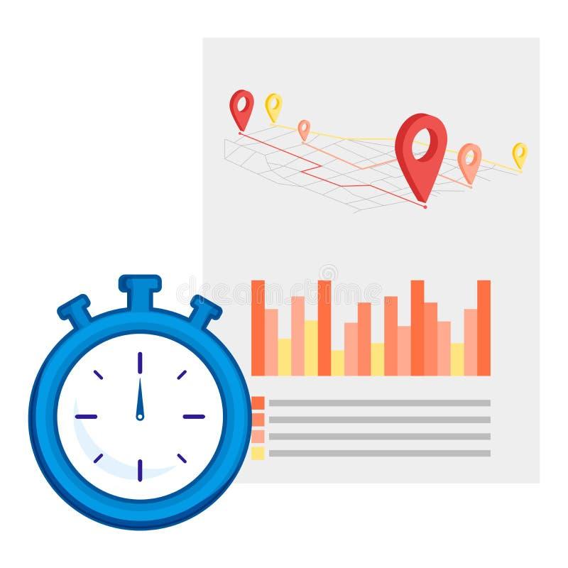 Línea en tiempo real elemento del icono de la ubicación Ejemplo del vector de la línea en tiempo real del icono de la ubicación a ilustración del vector