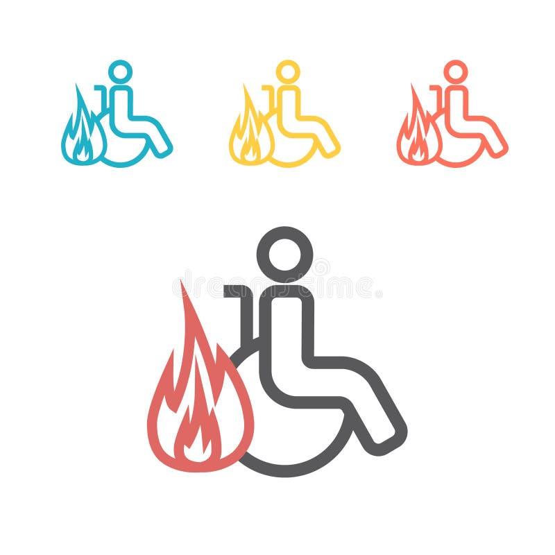 Línea encendida icono de la persona discapacitada en dispersado, muestra del vector para el gráfico de la web stock de ilustración