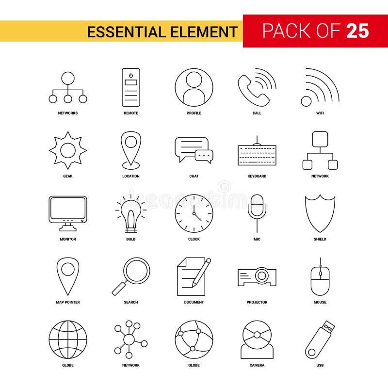Línea esencial icono - sistema del negro del elemento del icono del esquema de 25 negocios ilustración del vector