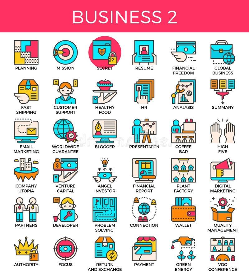 Línea esencial iconos del negocio ilustración del vector