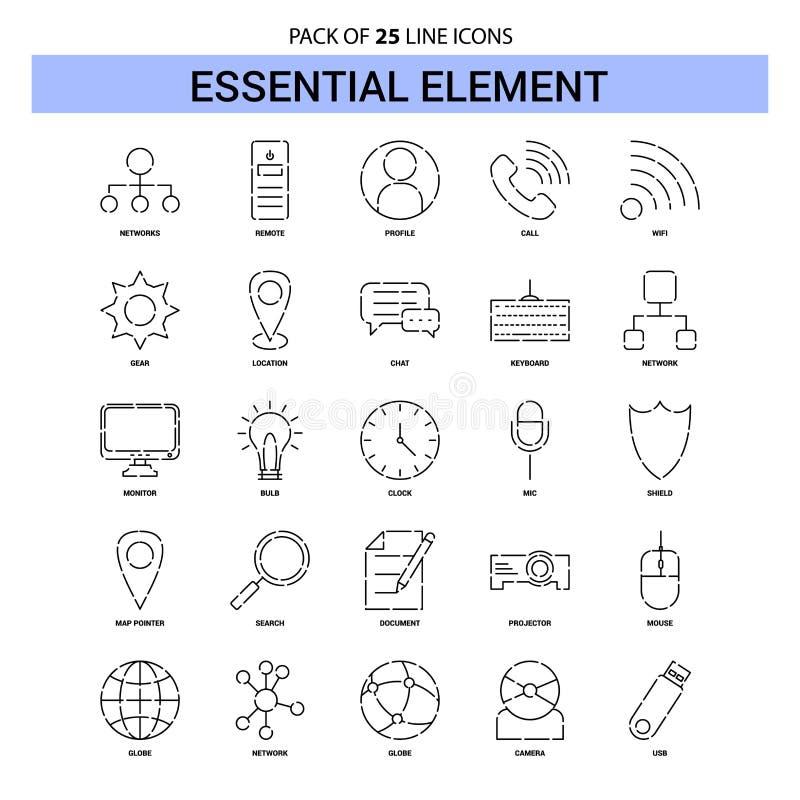 Línea esencial sistema del icono - estilo rayado del elemento del esquema 25 stock de ilustración