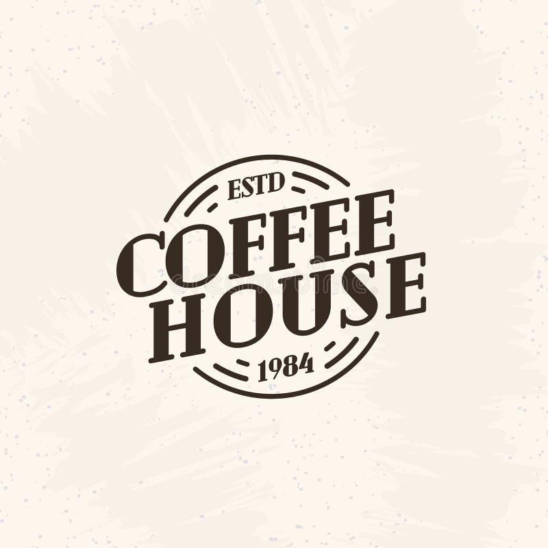 Línea estilo de color del negro del logotipo del café aislado en el fondo para el café, tienda, restaurante stock de ilustración