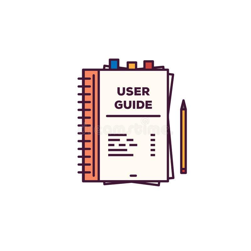 Línea estilo de la guía turística del usuario stock de ilustración