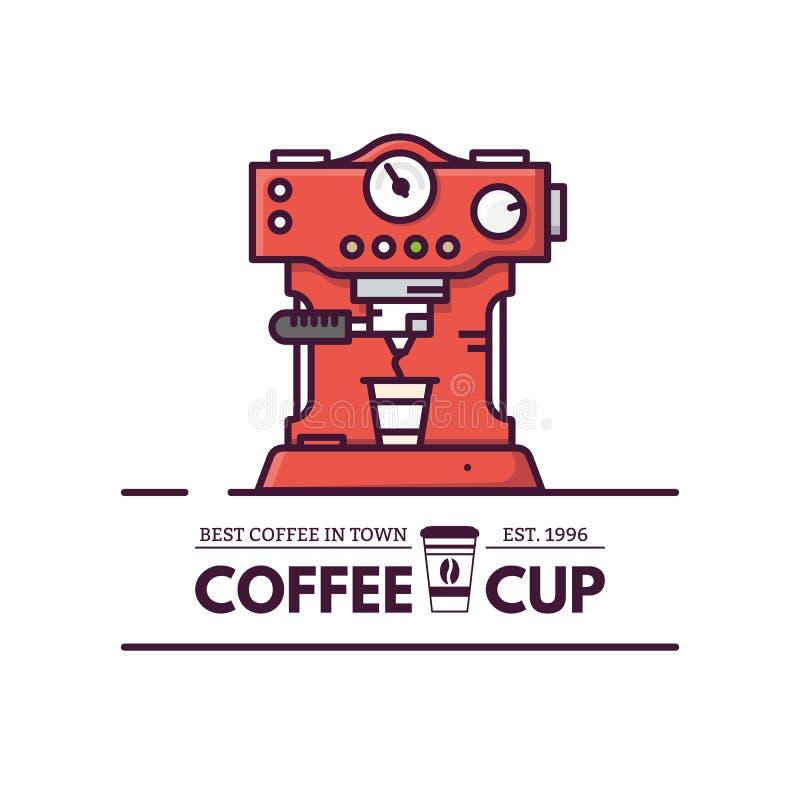 Línea estilo de la máquina del café stock de ilustración