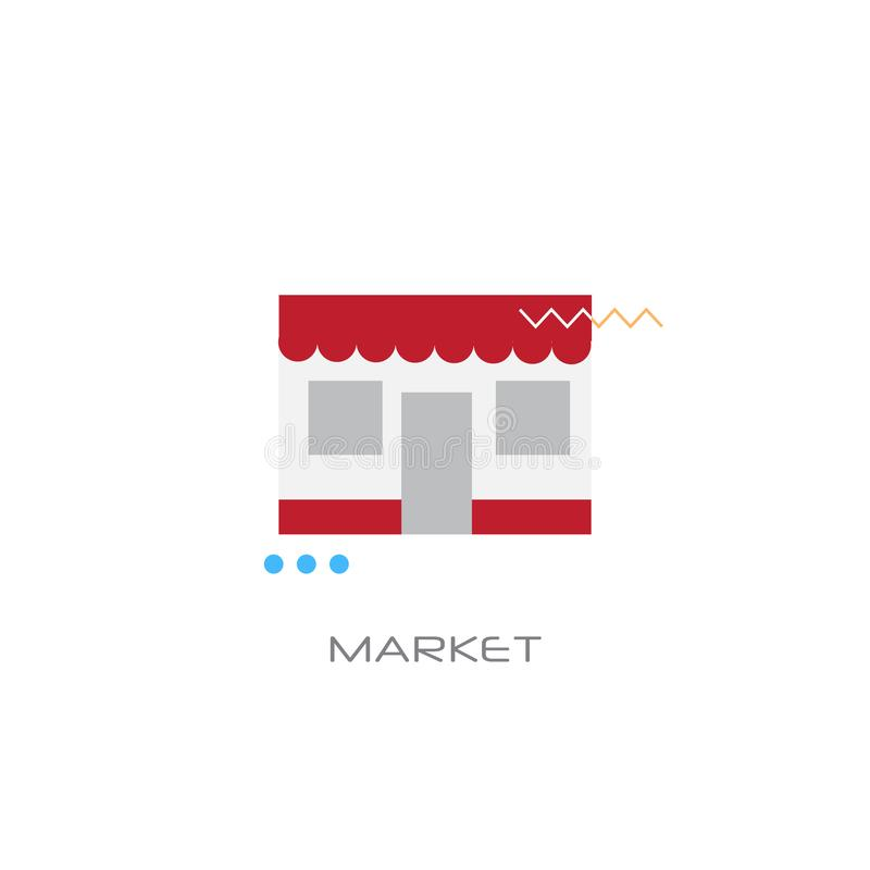 Línea estilo del concepto del mercado del edificio de tienda de la tienda del edificio del centro comercial aislado stock de ilustración
