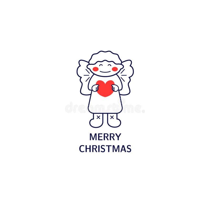 Línea estilo del icono del ángel Elemento simple para la tarjeta de Navidad, logotipo, impresión en la camiseta stock de ilustración