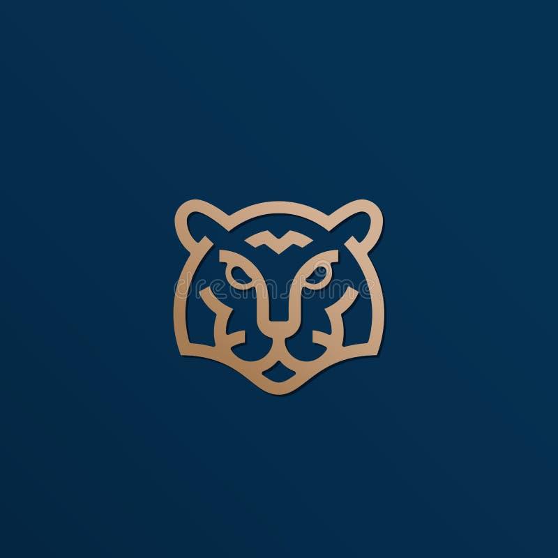 Línea estilo Tiger Face Abstract Vector Icon de oro, símbolo o Logo Template Cabeza animal salvaje Sillhouette con moderno stock de ilustración