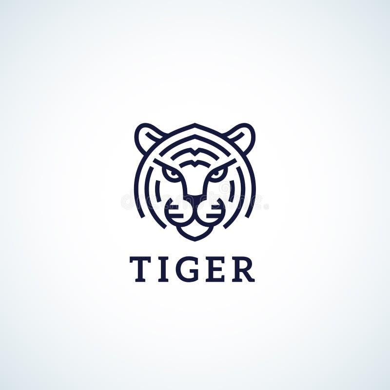 Línea estilo Tiger Face Abstract Vector Icon, símbolo o Logo Template Cabeza animal salvaje Sillhouette con tipografía stock de ilustración