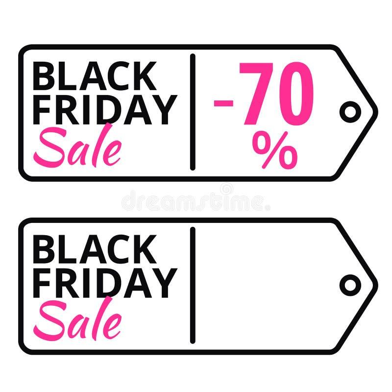 Línea etiqueta de las ventas de Black Friday del vector con el texto libre illustration