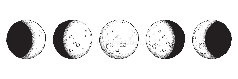 Línea exhausta arte de la mano antigua del estilo y fases de la luna del trabajo del punto aisladas Tatuaje de destello elegante  stock de ilustración