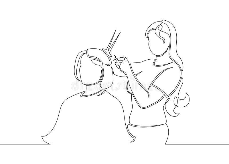 línea exhausta peluquero del garabato del arte libre illustration