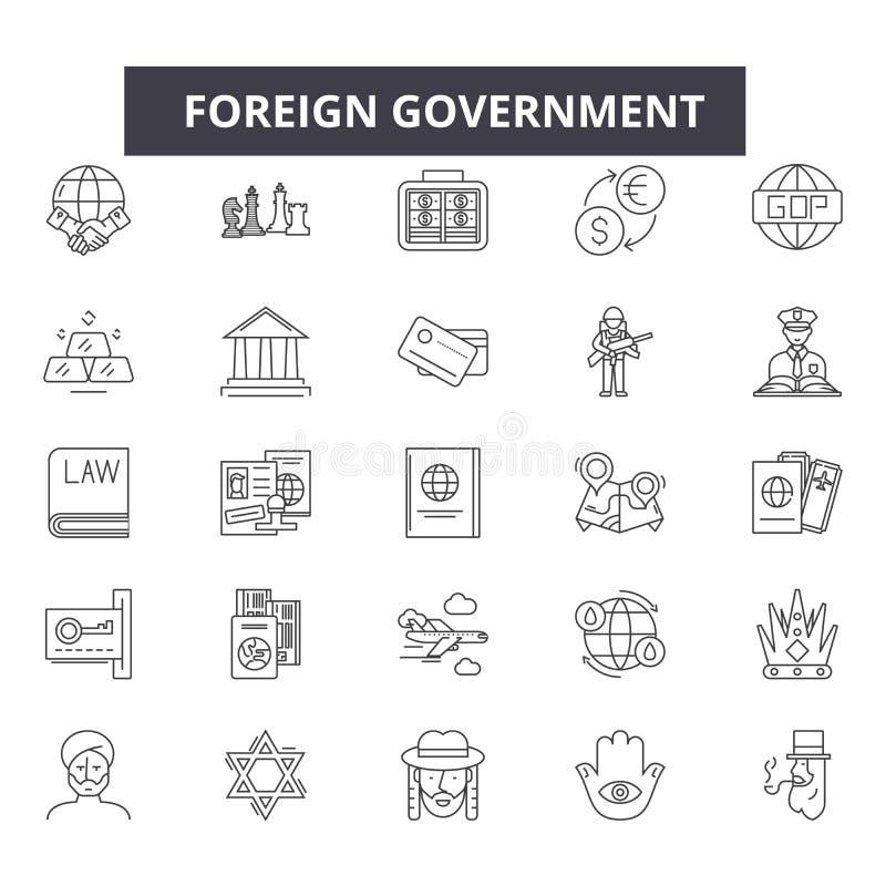 Línea extranjera iconos, muestras, sistema del vector, concepto linear, ejemplo del gobierno del esquema libre illustration