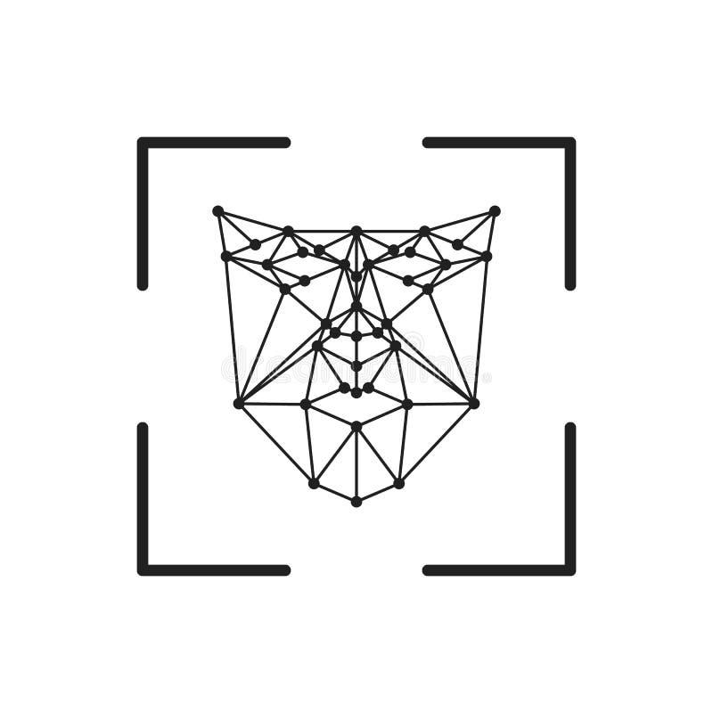 Línea facial icono de exploración de la identificación del reconocimiento del cuadrado del vector del arte para los apps y las pá libre illustration