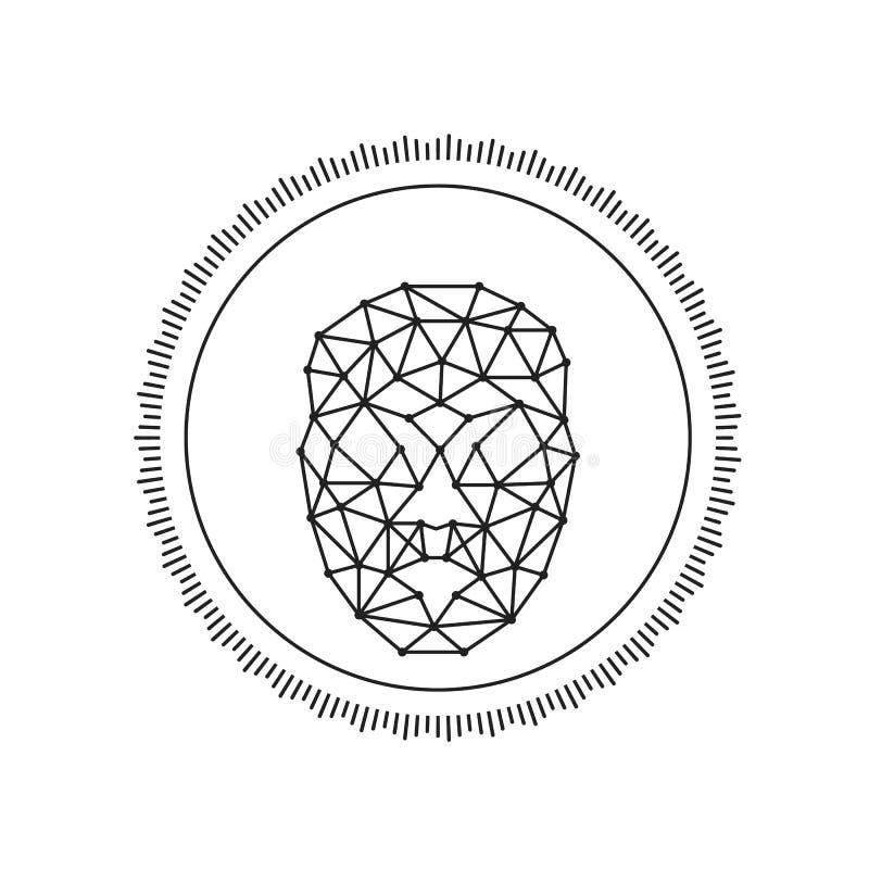 Línea facial redonda icono de exploración de la identificación del reconocimiento del vector del arte para los apps y las páginas ilustración del vector