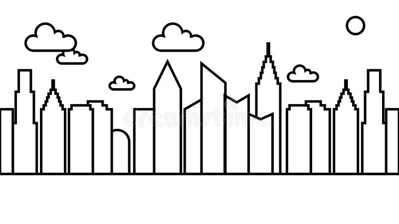 Línea famosa simple Art City Landscape Cityscape del vector del ejemplo stock de ilustración