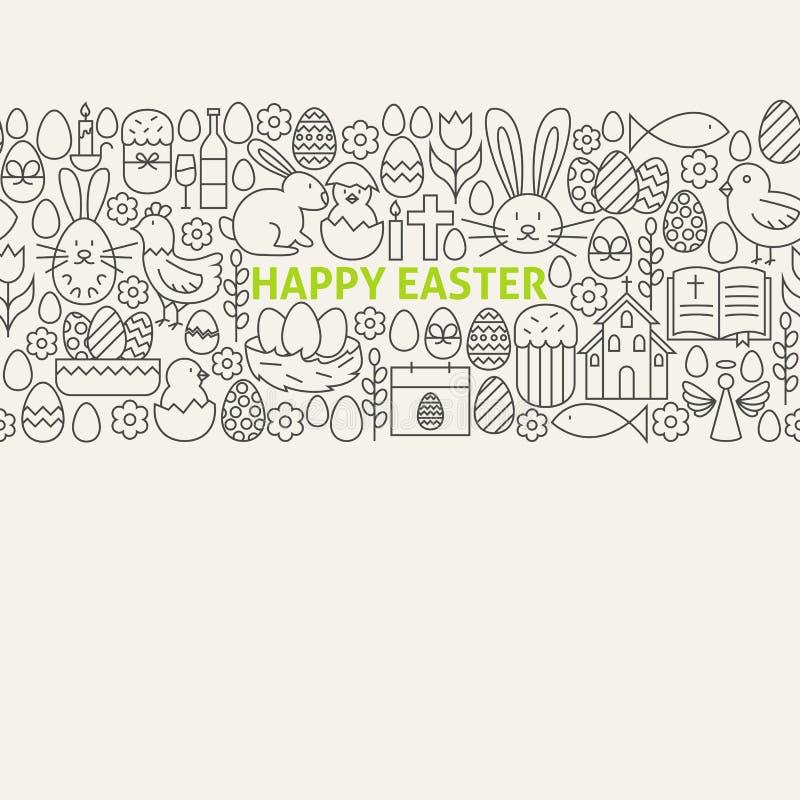 Línea feliz Art Icons Seamless Web Banner de Pascua stock de ilustración